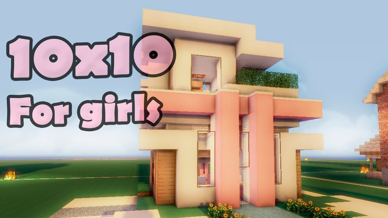 Minecraft 10x10 modern house for girls youtube for Minecraft modern house 7x7