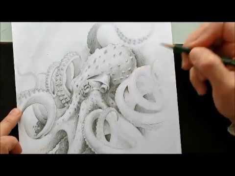 Diseño tatuaje pulpo - YouTube