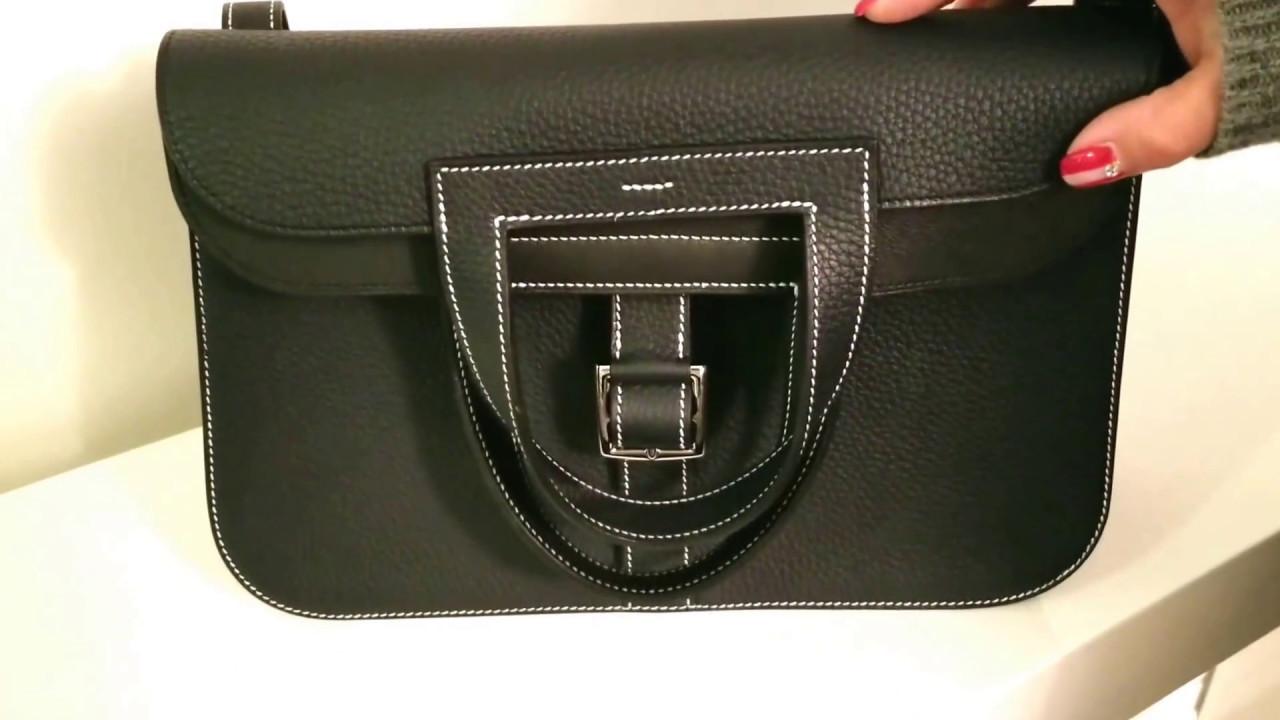 b04764645610 Review of the Medium Size Hermes Halzan Bag (Blue Nuit Colour) - YouTube