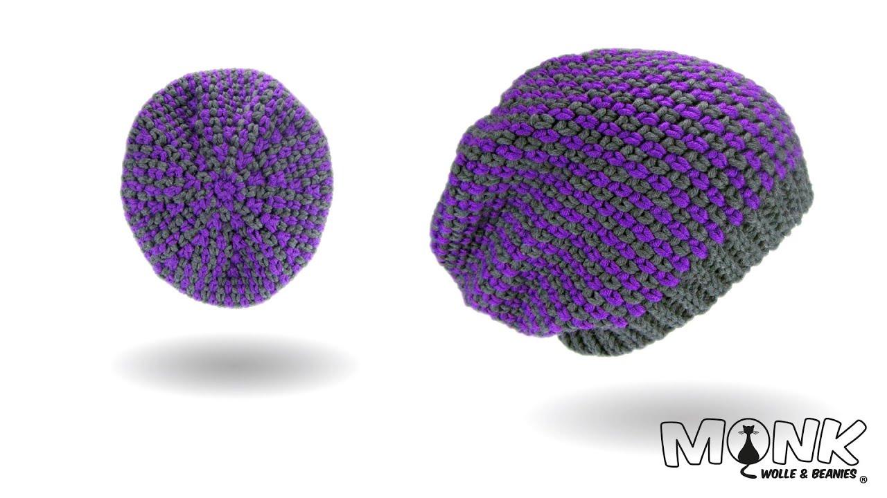 Mütze häkeln - Moss Stitch Beanie No. 4 - Long Beanie - YouTube
