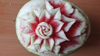 Карвинг из овощей и фруктов Арбуз Украшение праздничного  стола carving of fruits  watermelon
