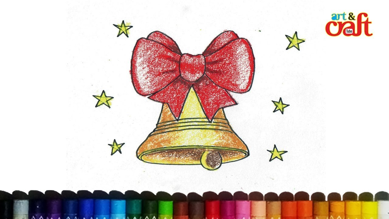 how to draw christmas bells jingle bells drawing step by step