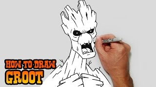 How to Draw Groot- Guardians of the Galaxy- Video Tutorial