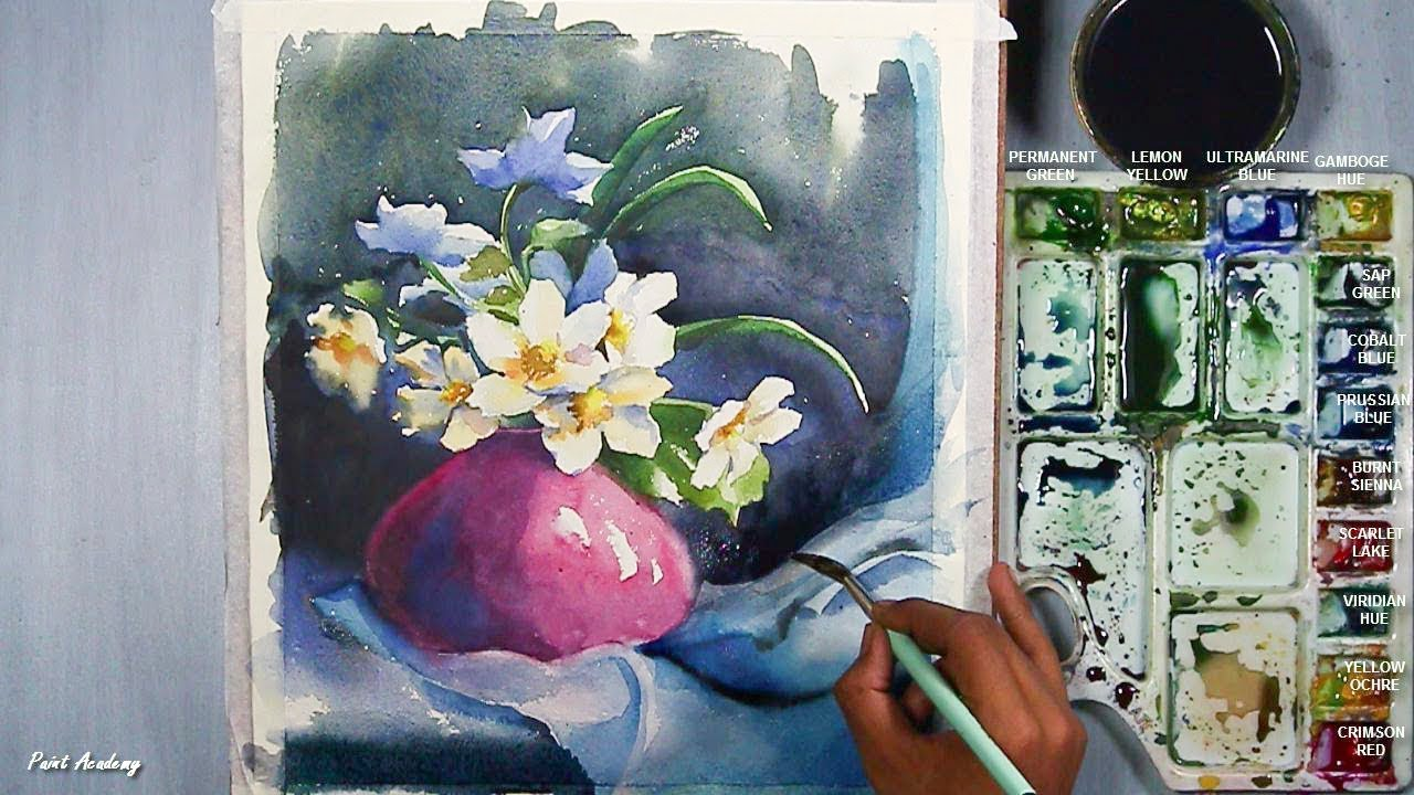 How To Paint A Beautiful Flower Vase In Watercolor Youtube
