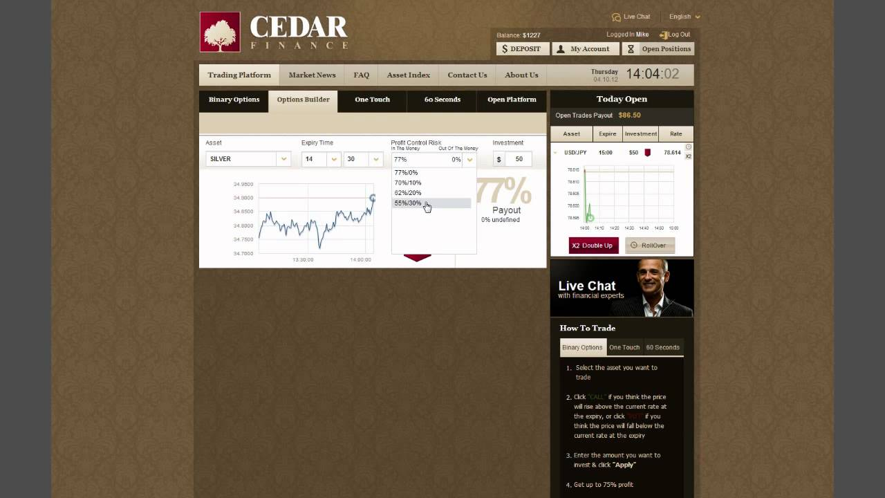 Cedar trade binary options