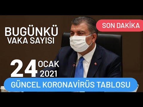 24 Ocak 2021 Güncel Koronavirüs Tablosu | Bugünkü Vaka Sayısı