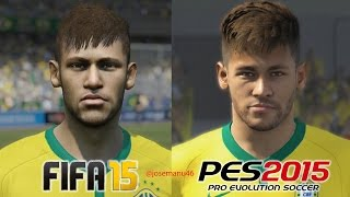 FIFA 15 vs PES 2015 BRASIL (National Team) Face Comparison