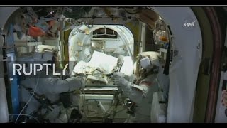 LIVE  NASA astronauts Whitson and Fischer conduct ISS spacewalk