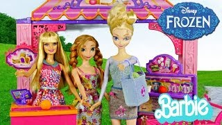 Barbie Life In The Dreamhouse Malibu Ave Market Play Doh Food Shopping With Frozen Elsa Anna