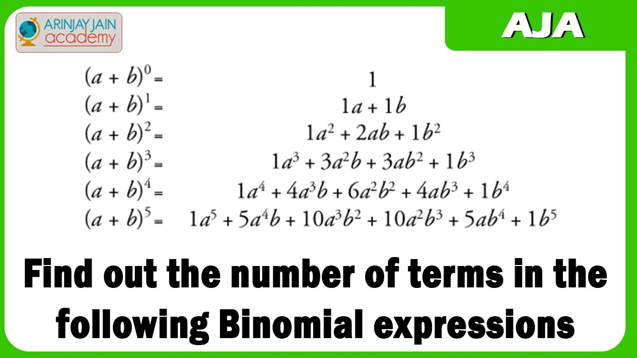 1103 Find Out The Number Of Terms In The Following Binomial
