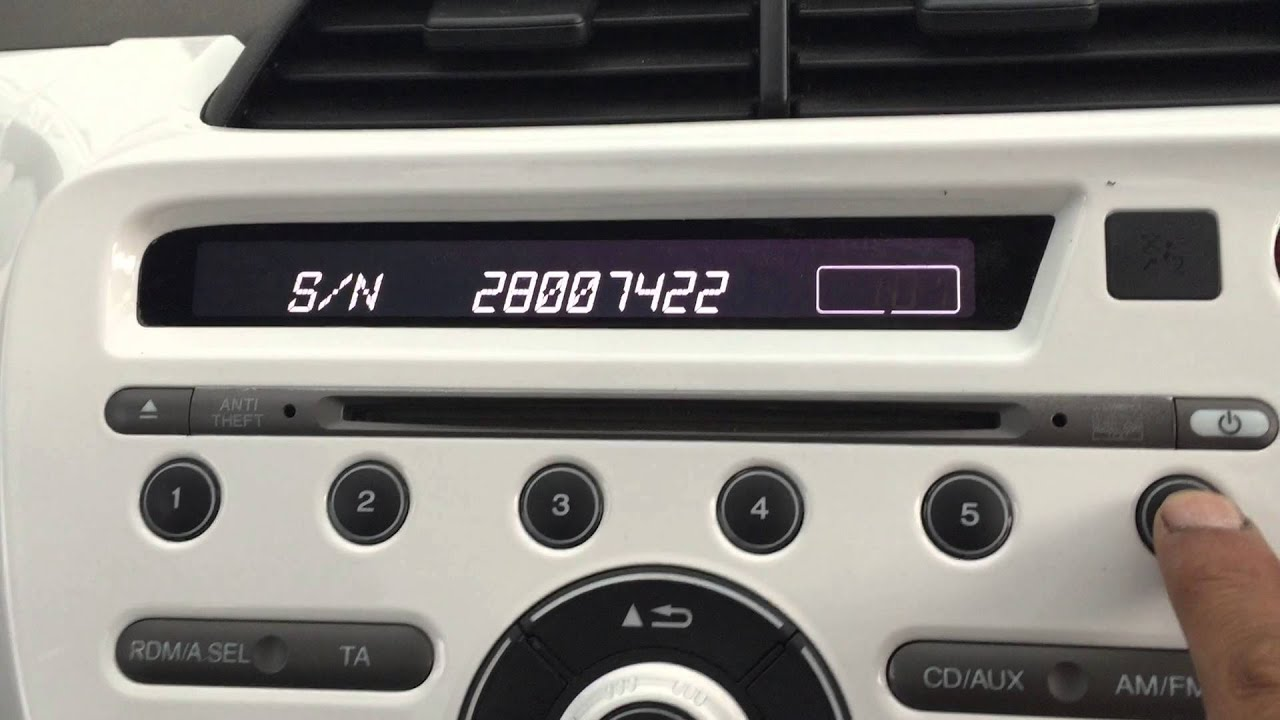 enter radio code on Honda Jazz - YouTube