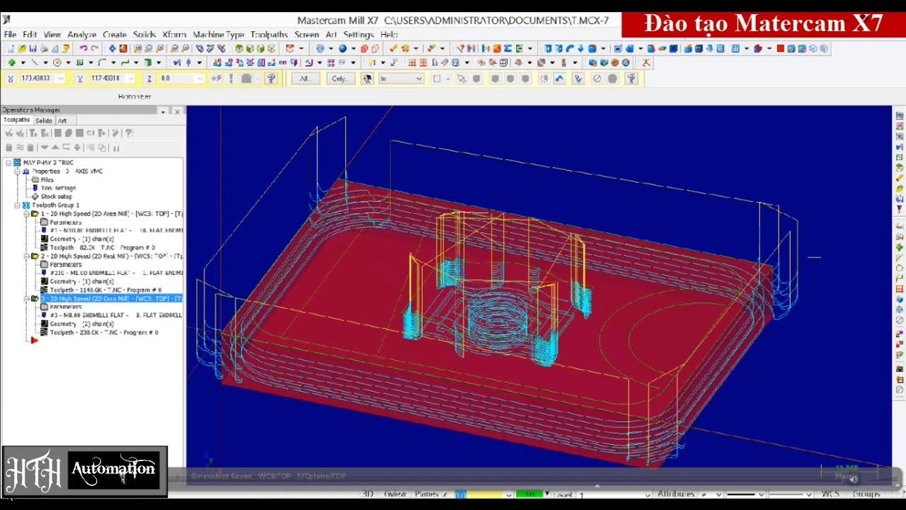 Bài 2: Phay Tốc Độ Cao – 2D Hight Speed – Hướng Dẫn Lập Trình Mastercam X7.