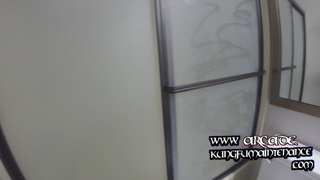 Quick Cleaning Tub Shower Doors Calcium Mineral Deposits Frame Glass ...