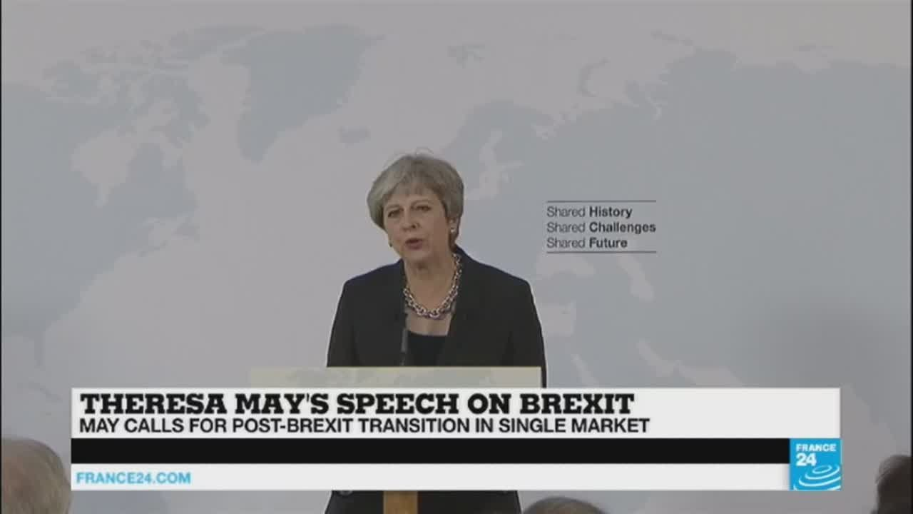 فرانس 24:PM May gives Brexit speech