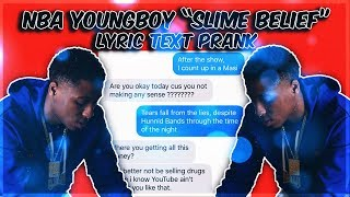 "NBA YOUNGBOY ""SLIME BELIEF"" LYRIC TEXT PRANK ON MOM GONE WRONG!"