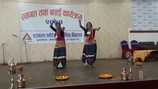 Tharu song dance by Tharuni in program by preeti chaudhary and puja chaudhary