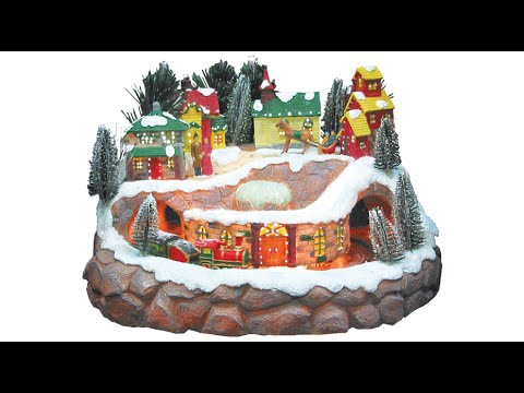 fibre optic large village moving train the christmas warehouse youtube