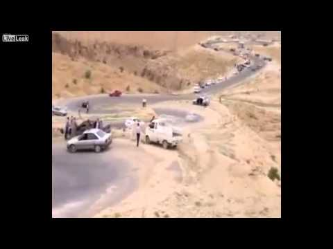 Car accident in Iraq Driver lost control and fell into the abyss