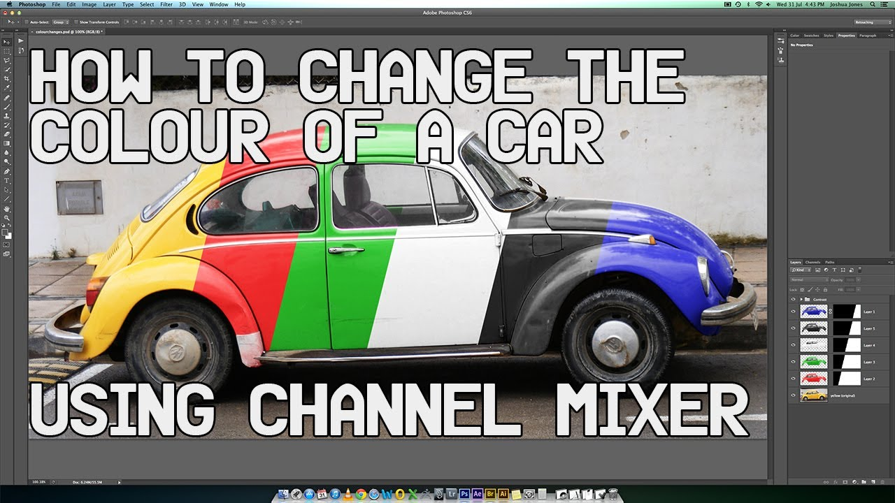 Colour a car - Change The Colour Of A Car Using The Channel Mixer Includes Black And White Youtube