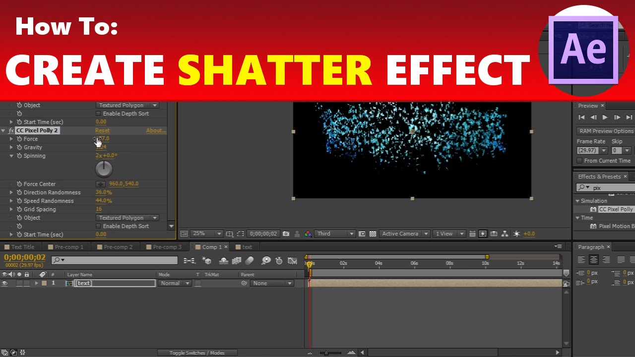 Shatter effect in adobe after effects tutorial (no download) youtube.