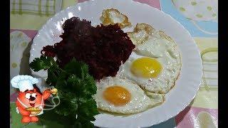 закуска из свеклы-жаренная свекла на сковороде с луком