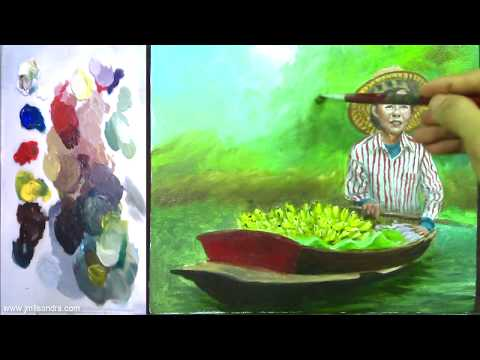 Acrylic Painting Tutorial | Part 3 | Old Lady Fruit Vendor on Boat Easy and Basic for Beginners