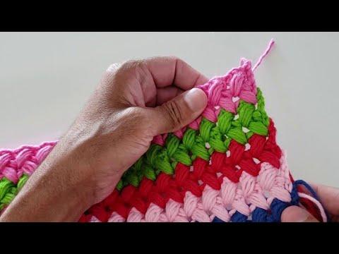 Tapete fácil em crochê com SOBRAS de FIO -  Tapete de crochê passo a passo com tranças de crochê