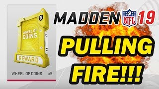 PULLING FIRE!! WHEEL OF COIN PACK OPENING | MUT 19