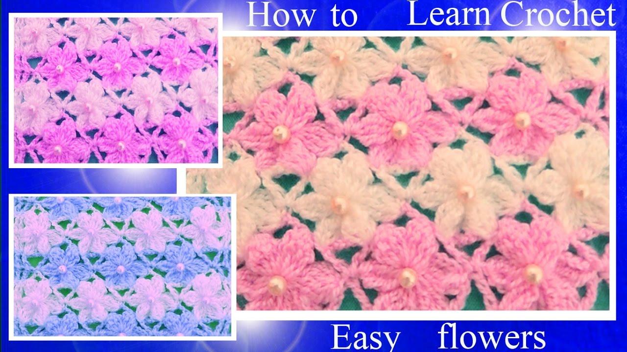 Aprende como tejer Puntos a Crochet con flores de seis pétalos en ...