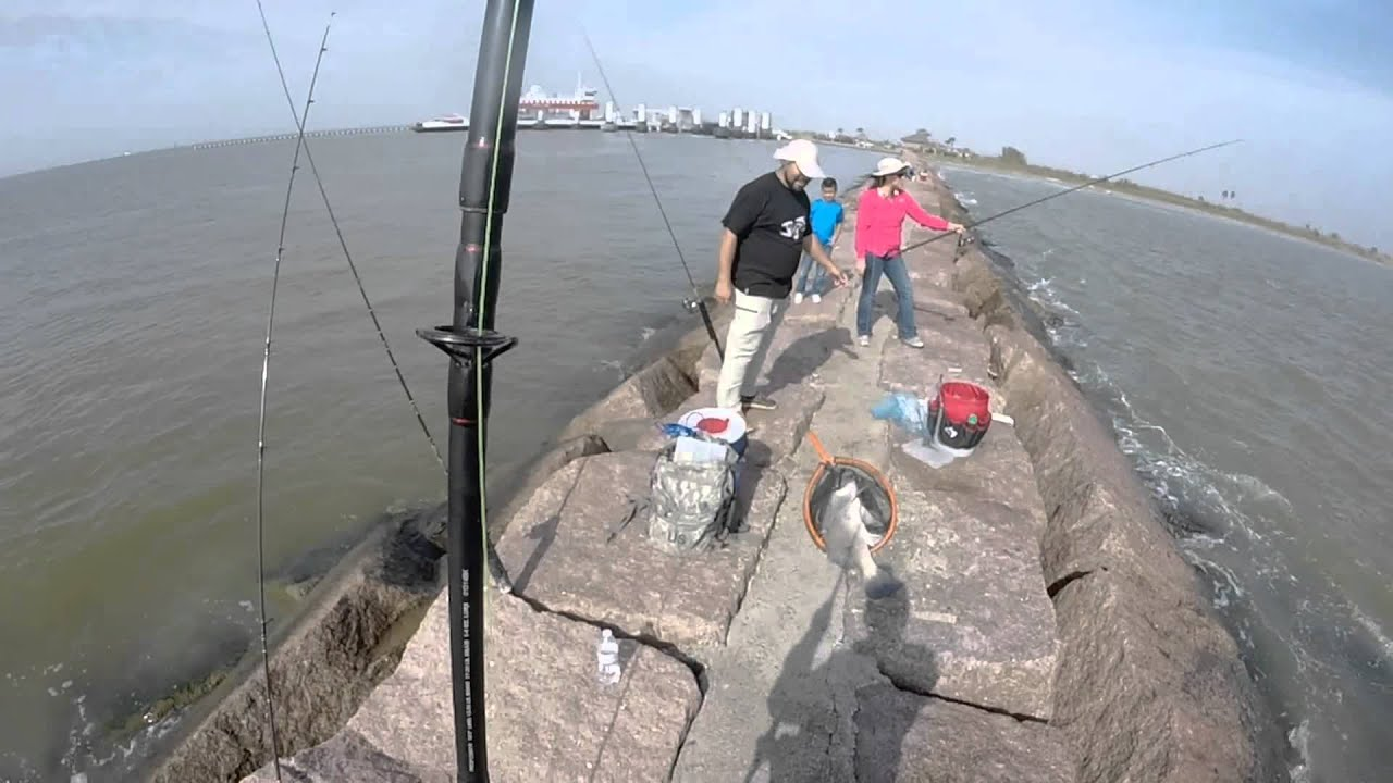 Galveston ferry jetty fishing youtube for Galveston jetty fishing report