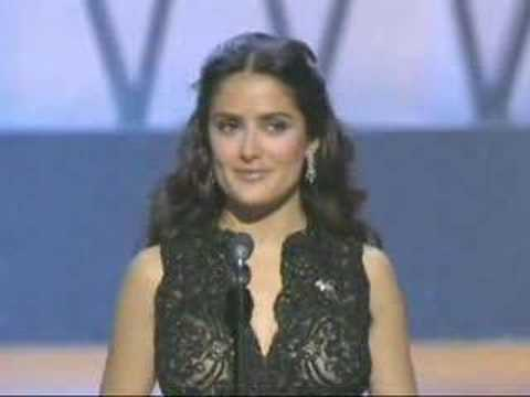 "Salma Hayek presenting the Foreign Language Film Oscar to ""Nowhere in Africa"": 2003 Oscars"