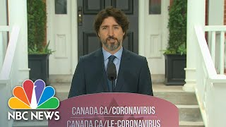 WATCH: Trudeau Pauses For More Than 20 Seconds When Asked About Trump, U.S. Protests | NBC News NOW