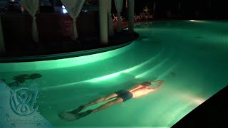 Why you should never breath out when swimming under water - Swimming 75m underwater at night
