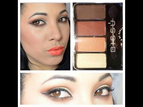 Maquillaje para el dia con labios NARANJA ,paleta de bissu  5 / linda cubana