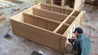 Amazing Carpenter's Woodworking Skills - Build Modern Beautiful Wardrobe, Extremely Fast & Simple
