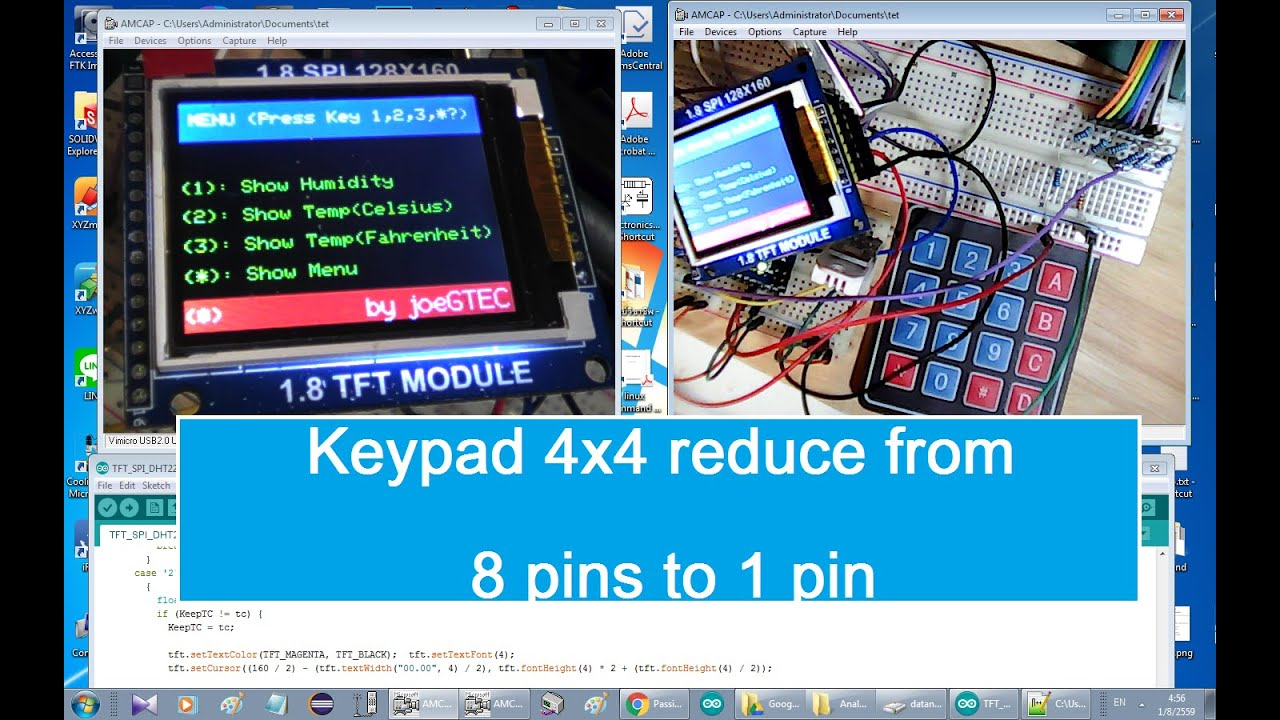 Arduino+Keypad 4x4(reduce 8 pins to 1 pin)+ TFT LCD (create menu ,info  pages)+DHT22(sensor)+buzzer
