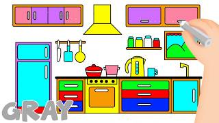 Easy Simple Kitchen Drawing
