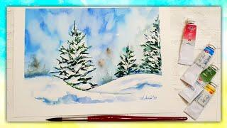 Рисуем Зиму Акварелью Онлайн!