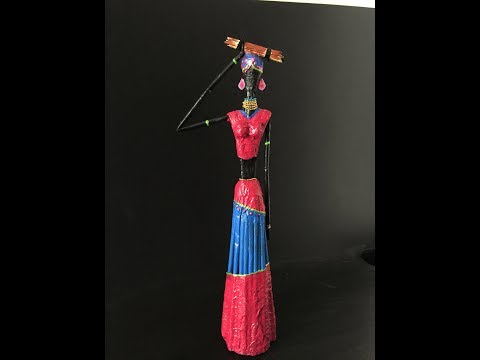 Best out of waste/DIY African doll with old newspaper