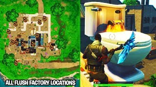 "Fortnite ""Search Chests in Flush Factory"" ALL LOCATIONS Week 4 Challenge Guide!"