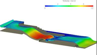 Holzmann CFD :: Multiphase flow, river flow with dynamic Mesh (Water Surface) using OpenFOAM®