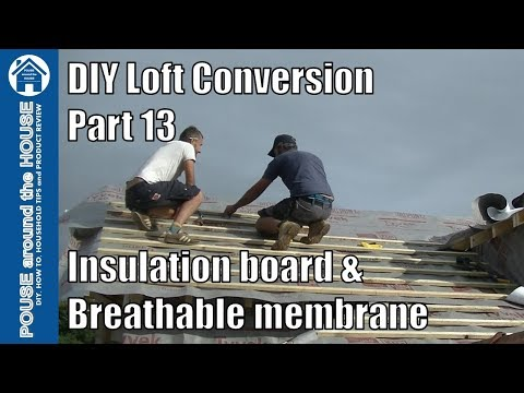 Loft Conversion Part 13 - Insulate Between Rafters, Breathable Membrane & Battens.