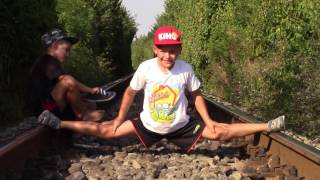 Giuliano 12 and Claudio 10 ,splits between train tracks