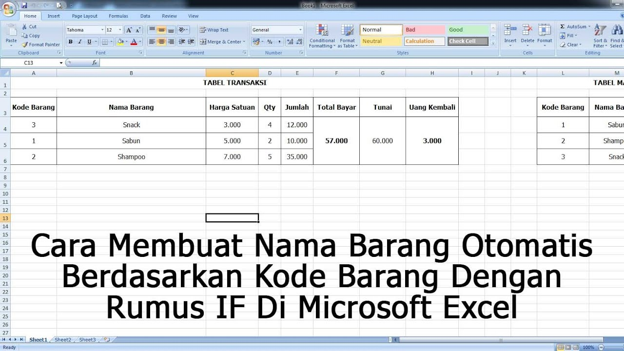 Cara Membuat Nama Barang Otomatis Berdasarkan Kode Barang Dengan Rumus If Di Microsoft Excel Youtube