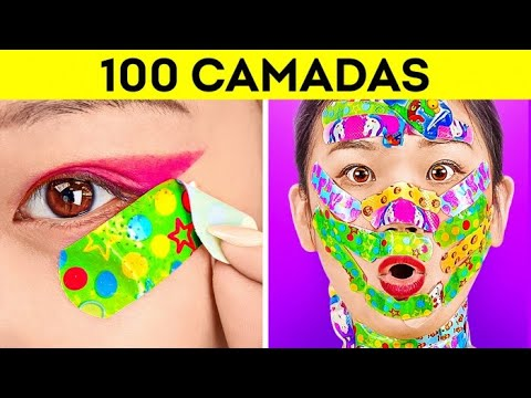 DESAFIO DAS 100 CAMADAS! 100 Camadas de Maquiagem, Esmalte e Curativos por 123 GO! CHALLENGE