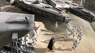 360 view of 1/6 updated Millennium Falcon and Stormtrooper Transport diorama