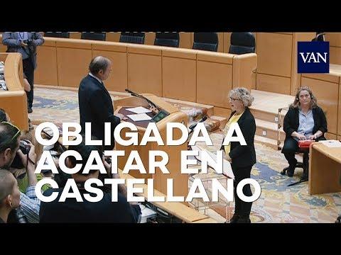 El presidente del senado obligada a una senadora a acatar la Constitución en castellano