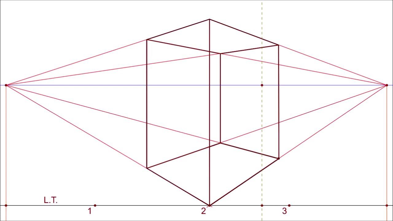 Prospettiva Centrale E Accidentale prospettiva accidentale #3 metodo perpendicolari al quadro - 2 points  angular perspective