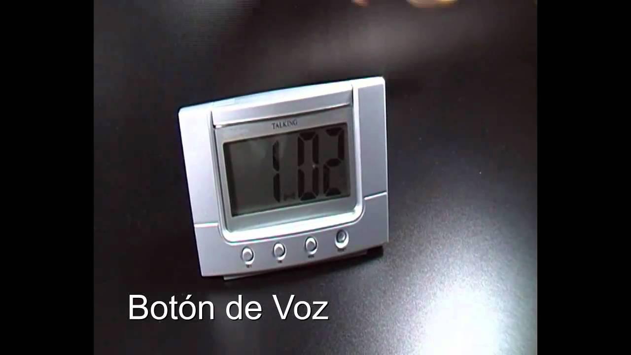 Reloj de mesa parlante alarma con voz en espa ol youtube for Reloj digital de mesa