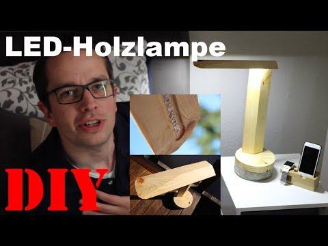 diy led holz beton lampe nachttischlampe schreibtischlampe selber bauen. Black Bedroom Furniture Sets. Home Design Ideas